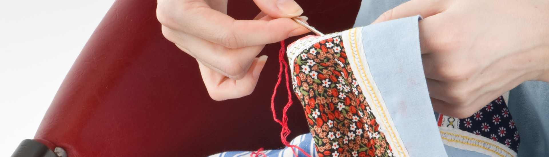 Close-up of Woman Stitching Quilting